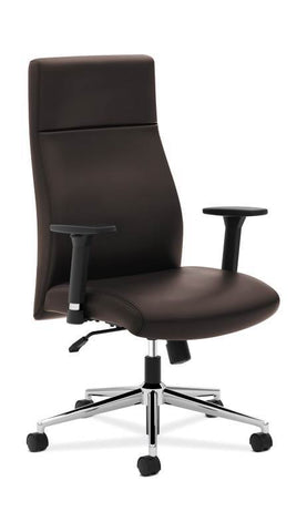 HON Define High-Back Executive Chair | Synchro-Tilt | Adjustable Arms | Brown Leather