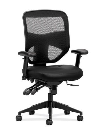 HON Prominent Mesh High-Back Task Chair | Asynchronous Control, Seat Glide | 2-Way Arms | Black Leather