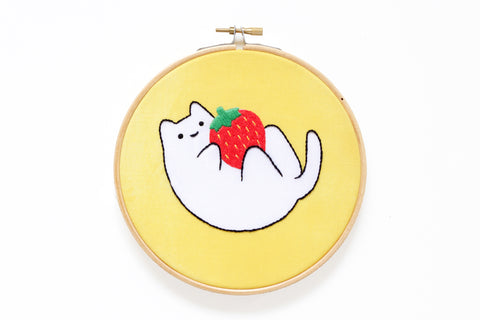 Strawberry Baby Cat - Hoop Art Kit - Limited Edition Sparkle Collective Collaboration