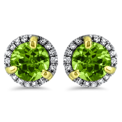 Peridot Halo Diamond Earrings