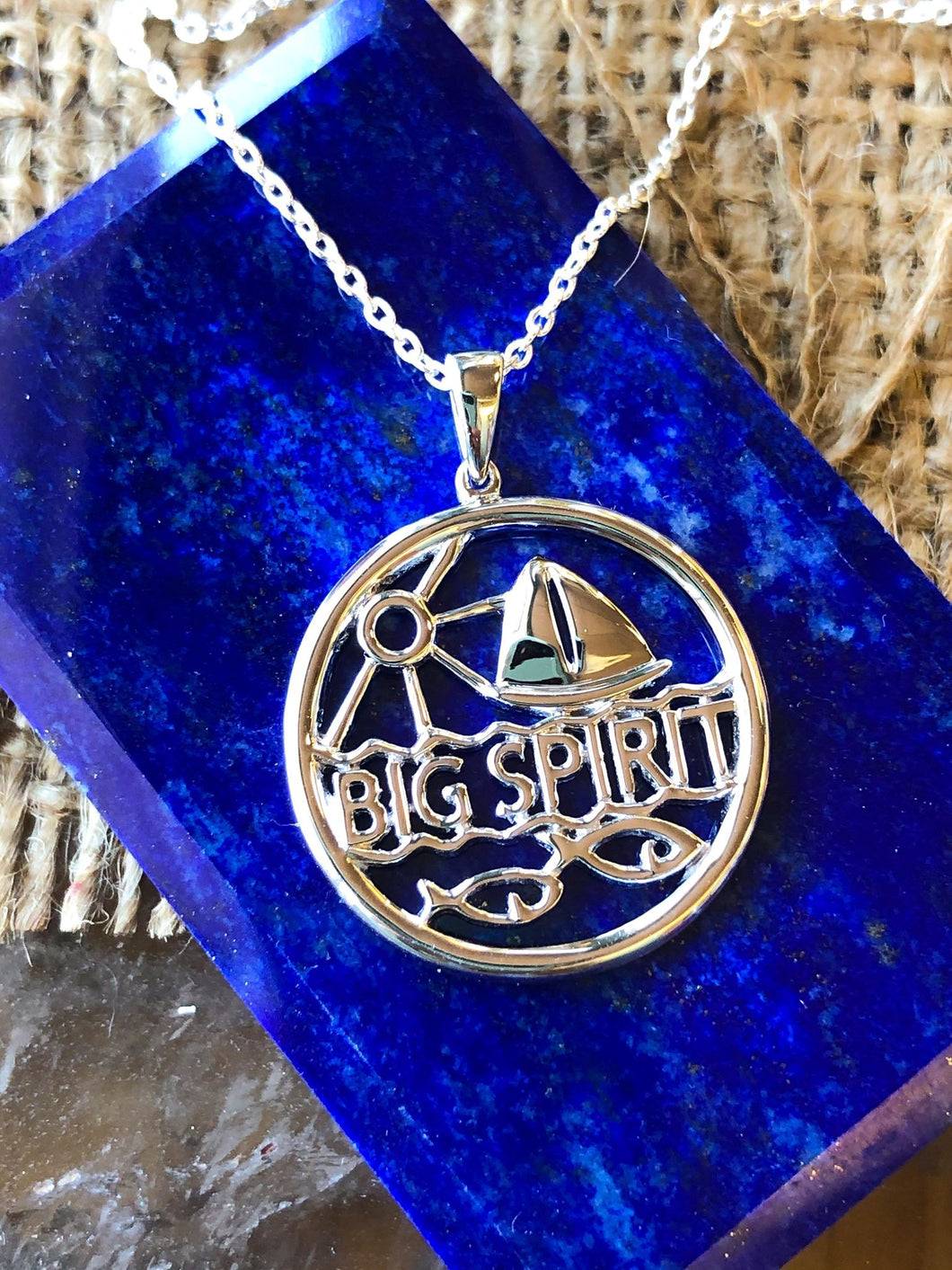 Sterling Silver Big Spirit with Sailboat Pendant