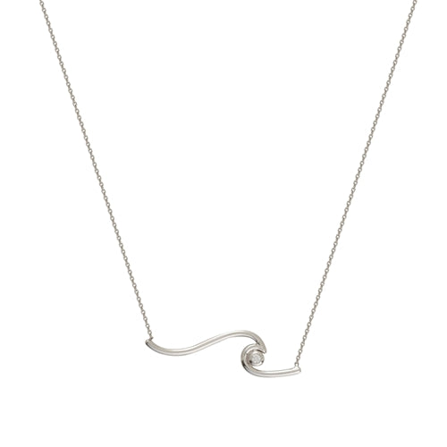 White Gold Diamond Wave Necklace