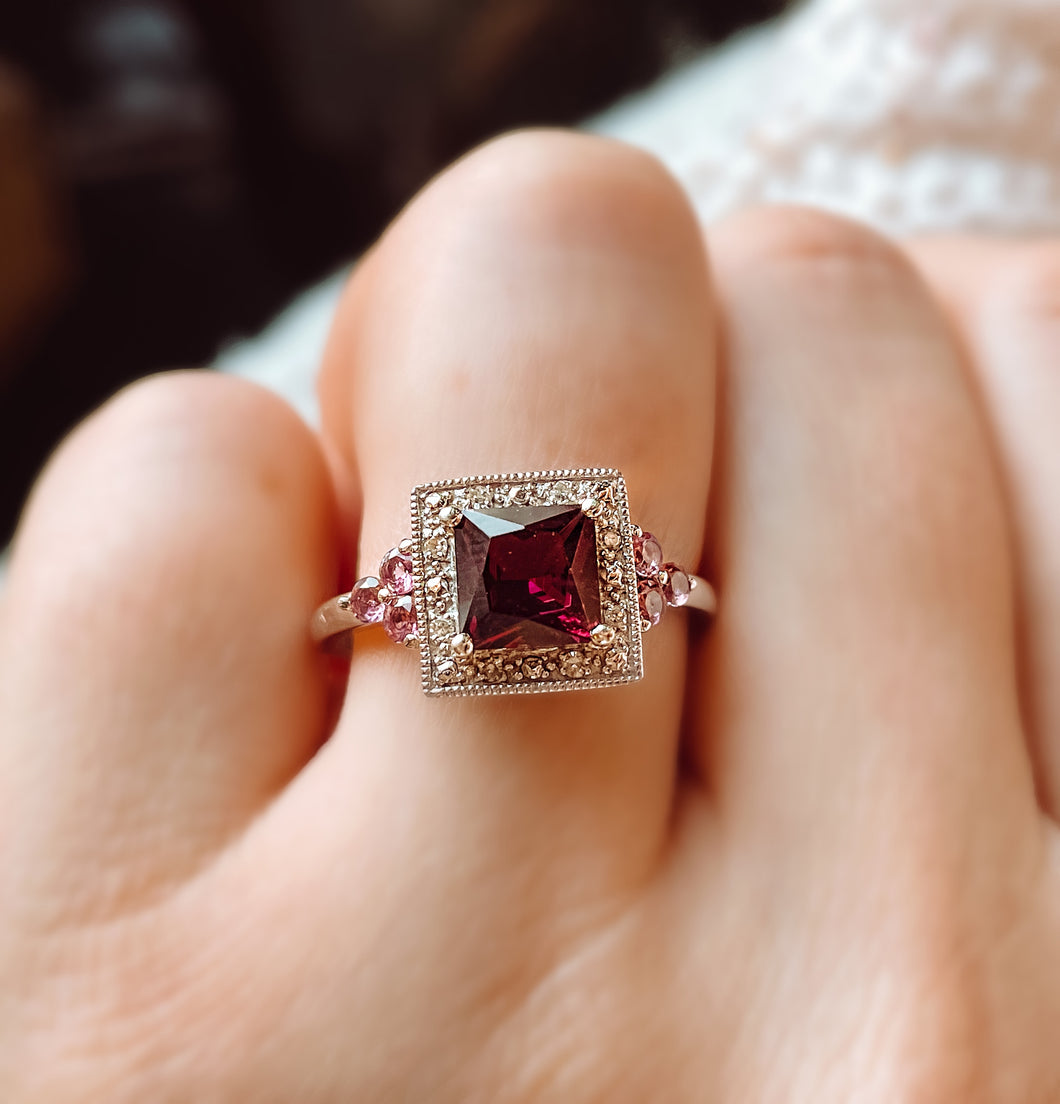Garnet White Gold Ring with Pink Tourmaline Accents- Jan. Special!