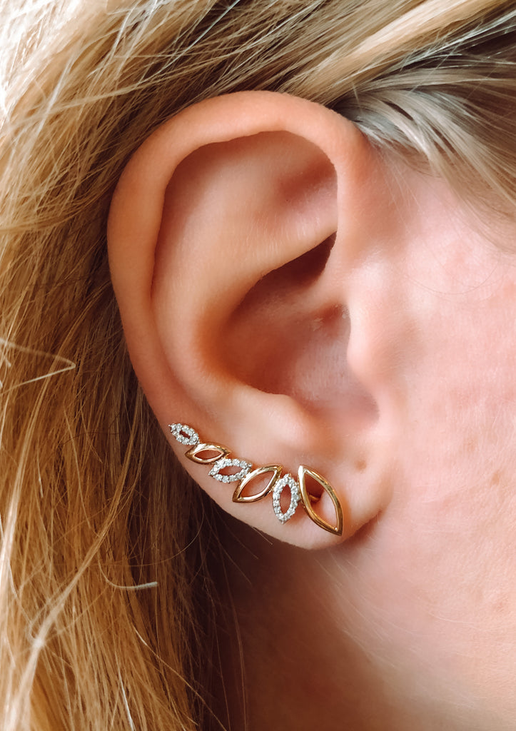 Yellow Gold Crawler Earrings