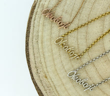"Load image into Gallery viewer, Rose Gold ""Okoboji"" Script Necklace"