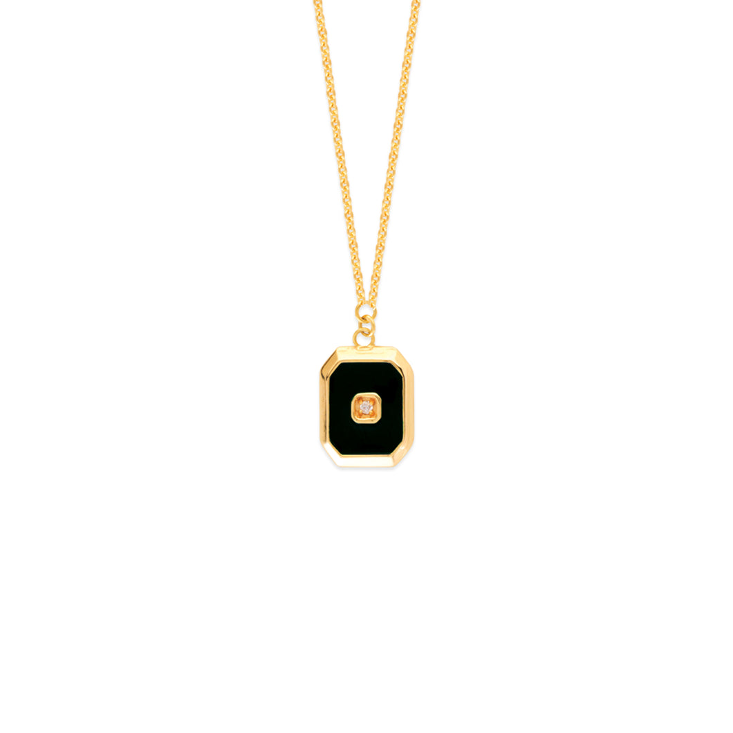 Yellow Gold Black Enamel Necklace