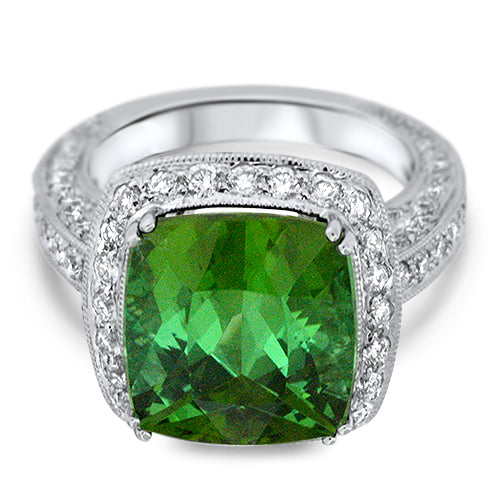 Vintage Inspired Green Tourmaline Ring