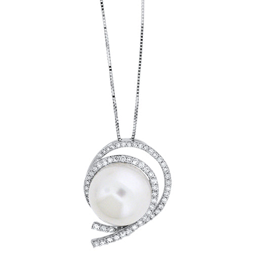 14mm Pearl and Diamond Pendant