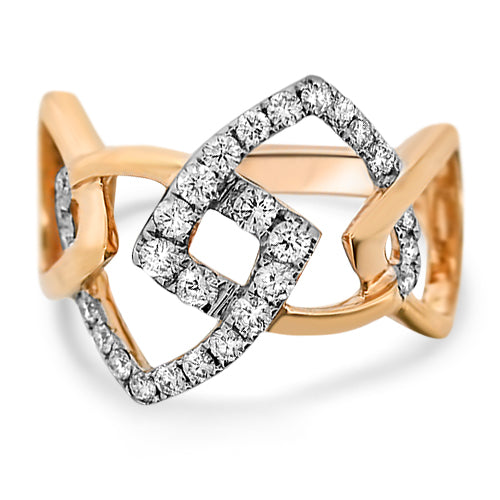 Rose Gold Geometric Diamond Ring