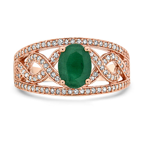 10KR Emerald and Rose Gold Ring