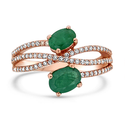 10KR Emerald Criss Cross Ring