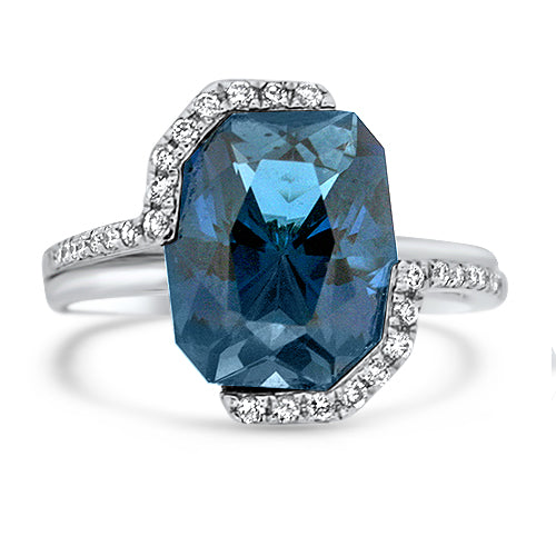 5.43CT Blue Night Topaz Ring