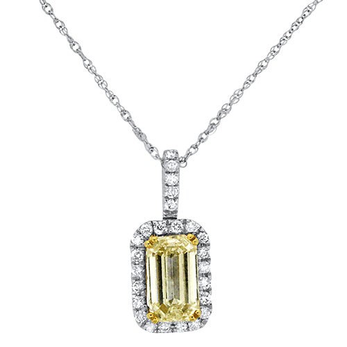 Yellow Diamond Emerald Pendant