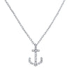 White Gold & Diamond Anchor Necklace