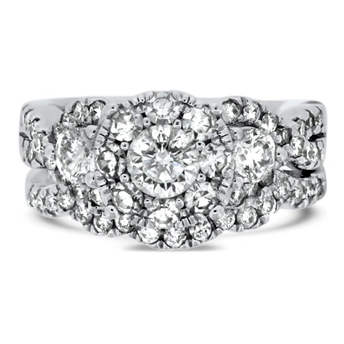 Three Stone Diamond Wedding Set