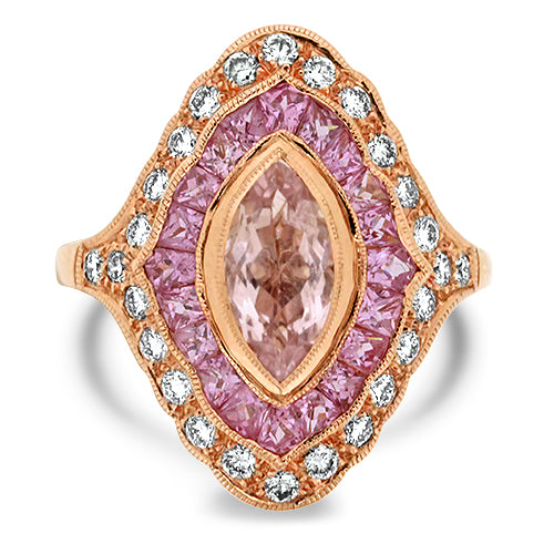 Morganite , Pink Sapphire & Diamond Ring
