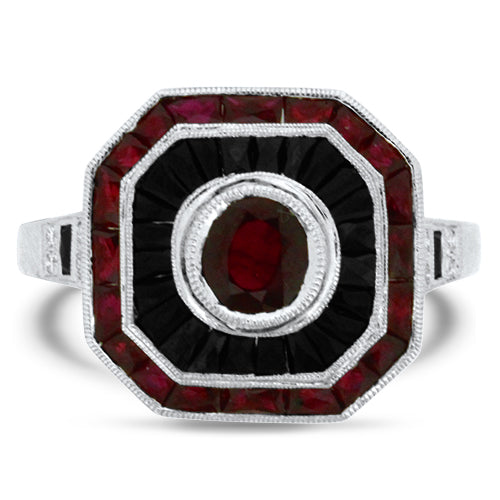 Ruby Onyx & Diamond Ring