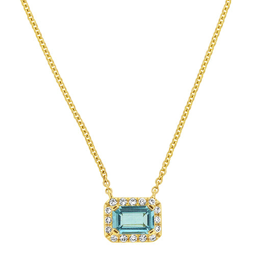 Aquamarine & Diamond Necklace