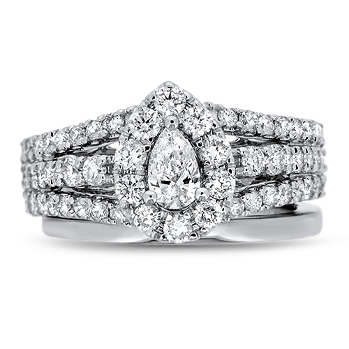 Pear Cut Diamond Halo Wedding Set