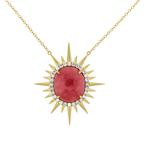 Pink Opal Sun Necklace