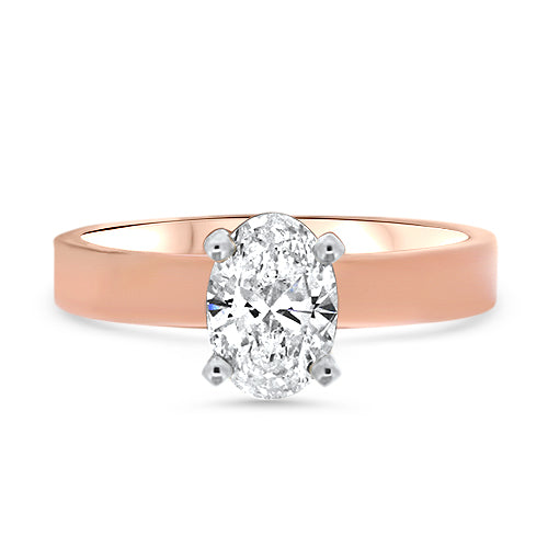 Oval Solitaire Rose Gold Diamond Engagement Ring