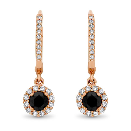 Rose Gold Black Diamond Earrings