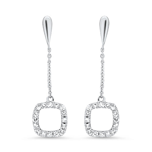 Square Diamond Dangle Earrings