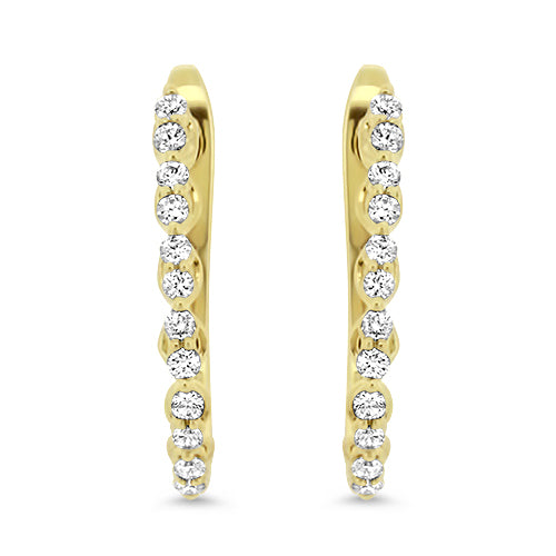 Yellow Gold Diamond Hoops