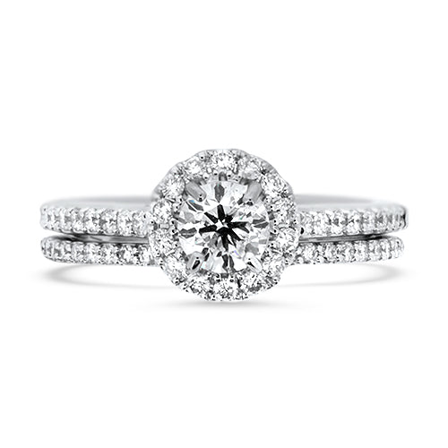 Classic Diamond Halo Wedding Set