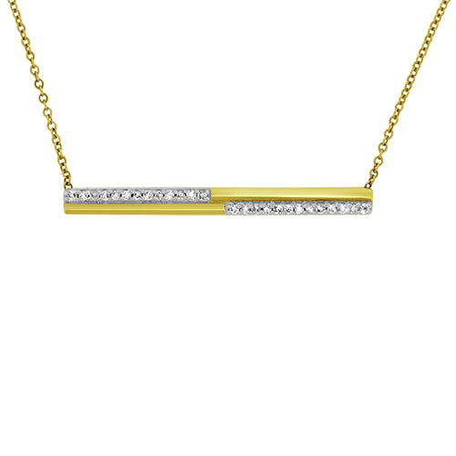 Yellow Gold and Diamond Bar Necklace