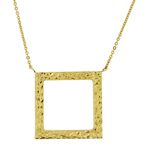 Square Yellow Gold Necklace