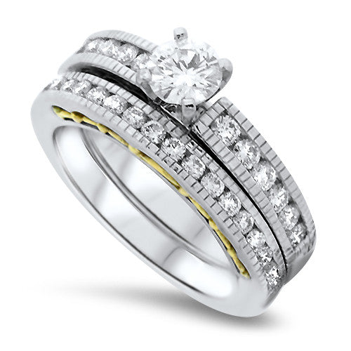 Round Brilliant Cut Diamond Wedding Set