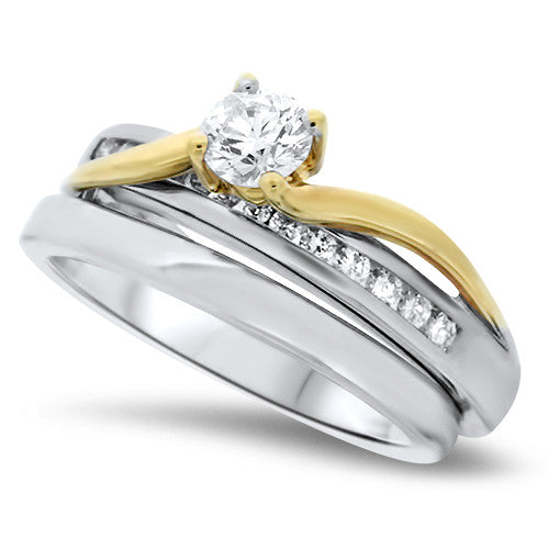 Vibrant Yellow & White Gold Diamond Wedding Set