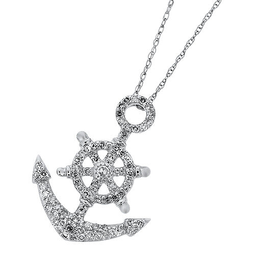 Okoboji Diamond Anchor Pendant
