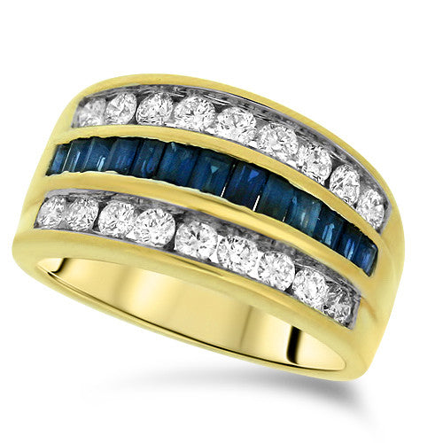 Layered Diamond & Sapphire Ring
