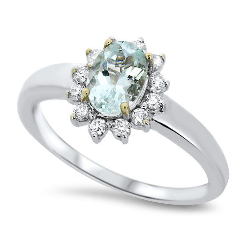 Aquamarine Ring with Diamond Halo