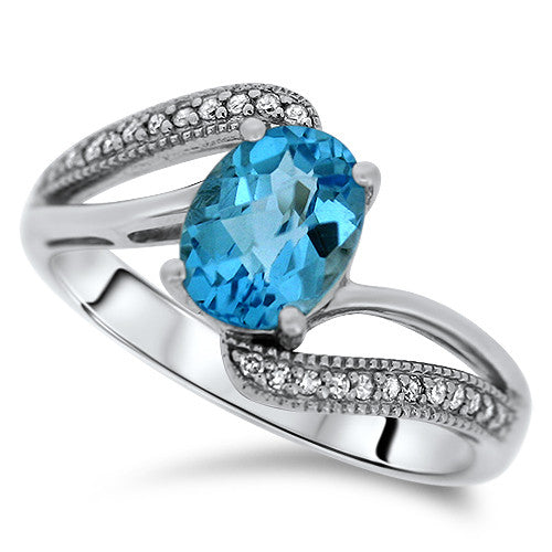 Curved Diamond & Blue Topaz Ring