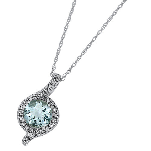 Aquamarine Pendant with a Diamond Halo