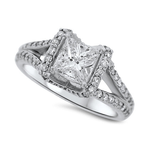 Square & Pave Set Diamond Ring