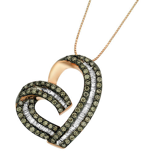 Chocolate & White Heart Diamond Pendant