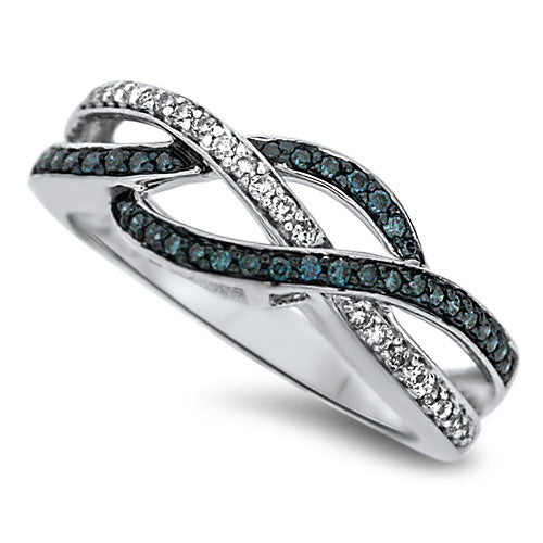 Twisted Blue & White Diamond Fashion Ring