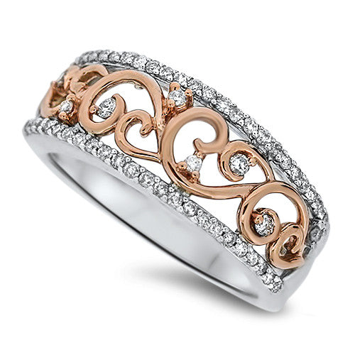 Rose Gold Detailed Diamond Fashion Ring