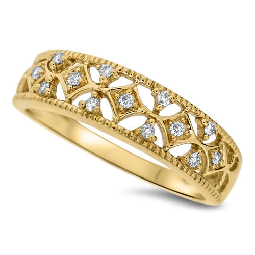Detailed Diamond Fashion Ring
