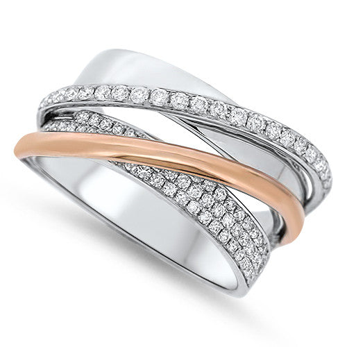 Two Tone Stacked-Look Diamond Fashion Ring