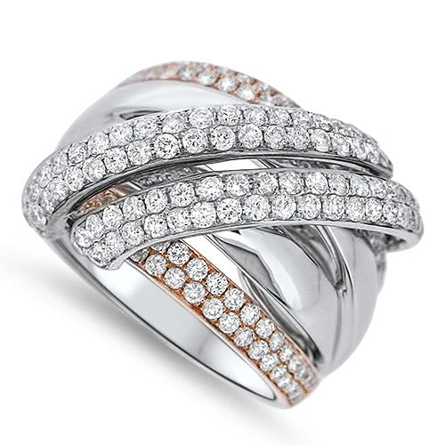 Two Tone Layered Diamond Fashion Ring