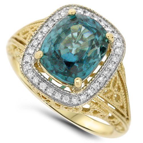 Detailed Blue Zircon Ring