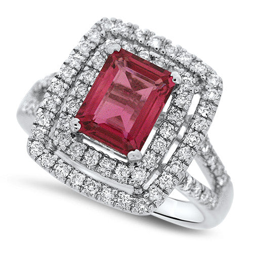 Double Halo Pink Tourmaline Ring