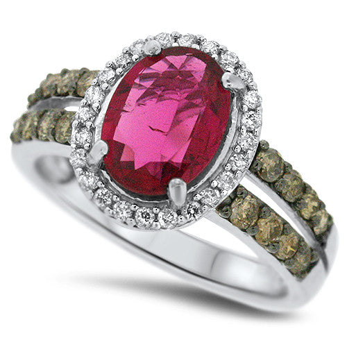 Chocolate Diamond & Pink Tourmaline Ring