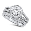 White Gold Halo Diamond Wedding Set