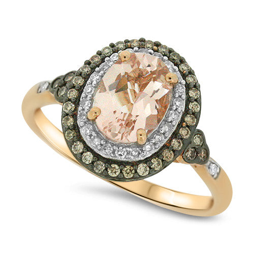 Chocolate Diamond & Morganite Ring